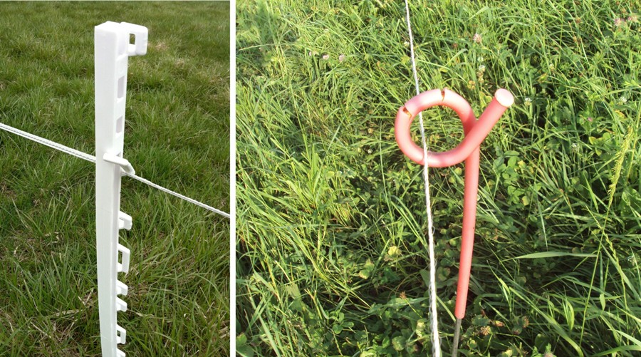 side by side images of a white plastic post and a curly pink one