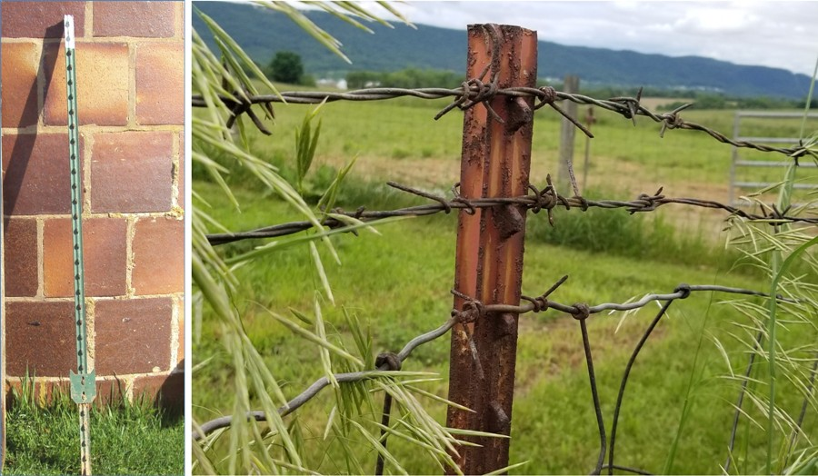 pic on left shows full t-post leaning against a silo; right is a close up of one with barbed wire on it